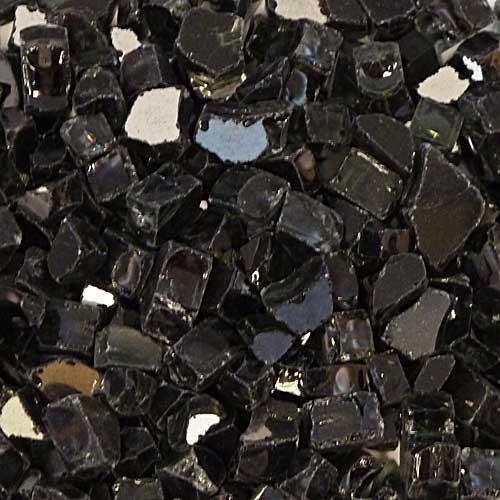 Black reflective fire glass