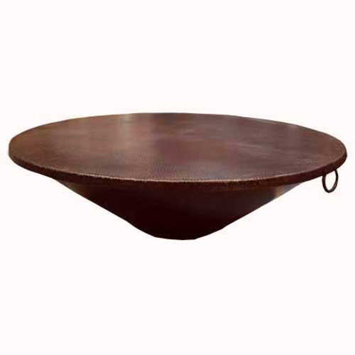 "48"" round fire pit copper cover with bronze patina finish and handles"
