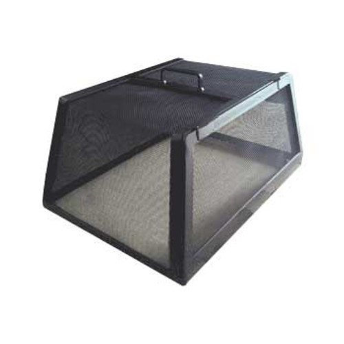 Stainless steel mesh safety screen with black finish on rectangle and square fire pits
