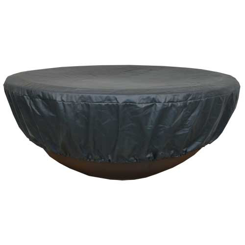 Durable black vinyl round fire pit cover