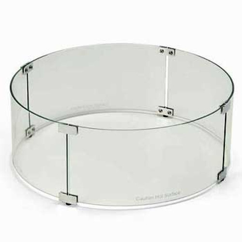 Round tempered glass wind guard to protect fire pit flame
