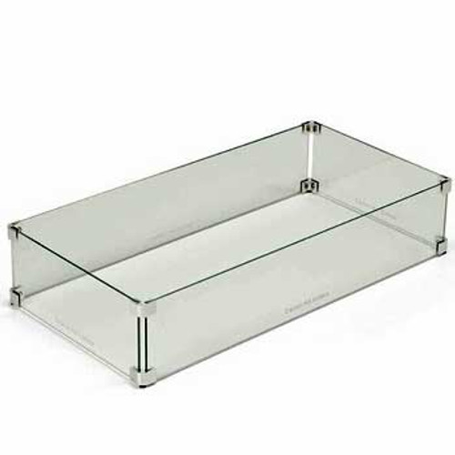 Rectangle and linear tempered glass wind guard for protecting fire pit flame