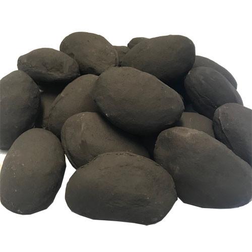 "Lightweight, ceramic 4"" - 5"" large river rocks in black"