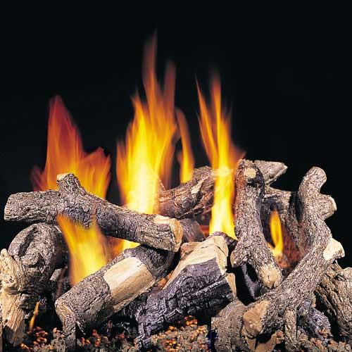 Handcrafted charred oak fire pit logs