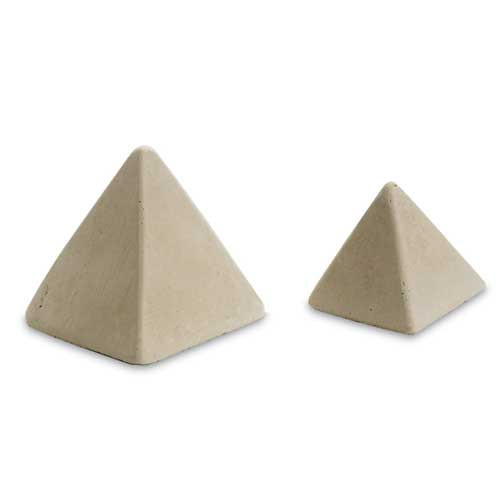 Large and small pyramids for added decoration within a fire pit