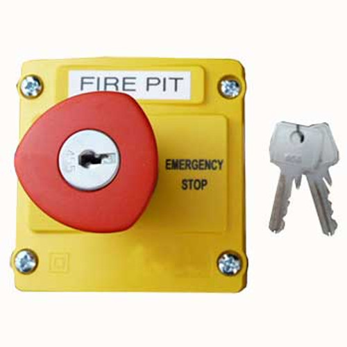 Plastic push button emergency stop control station with key reset