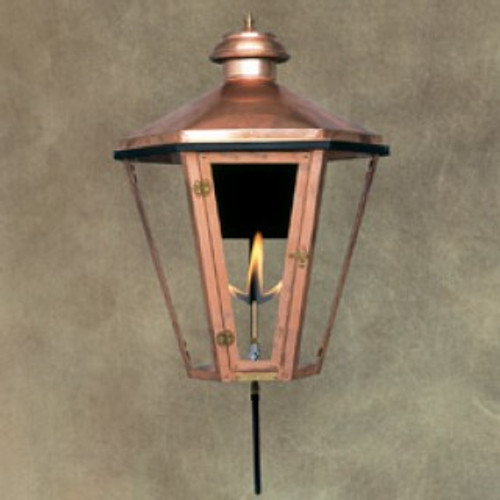 Custom copper gas light with standard wall bracket- The Apollo I