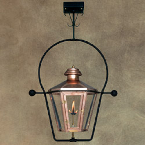 Custom copper gas light with yoke ceiling mount- The Apollo II