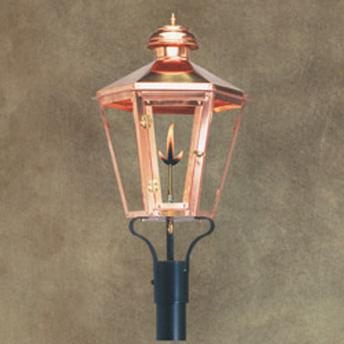 Custom copper gas light with post mount, perfect for a streetlight. The Apollo III