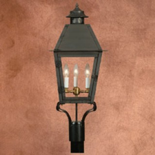 Custom copper gas light with black powder finish post mount- The Atlas I