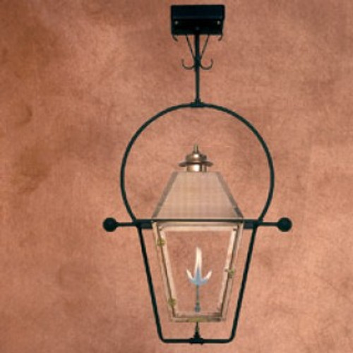 Custom copper gas light with ceiling yoke mount- The Atlas II