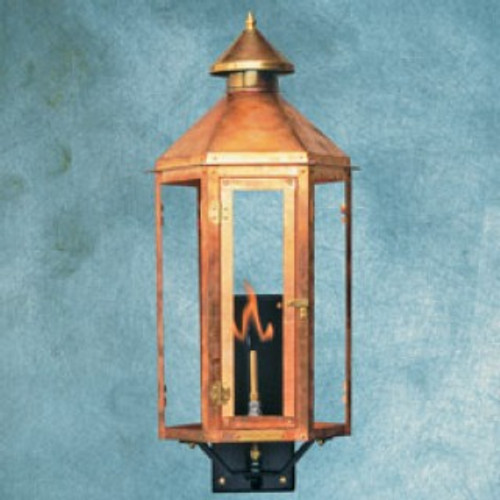 Handcrafted copper gas light with decorative steel mounting bracket- Neptune I