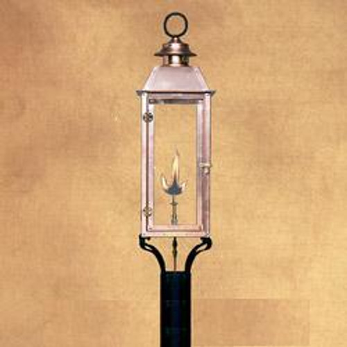 Handcrafted copper gas light with decorative post mount