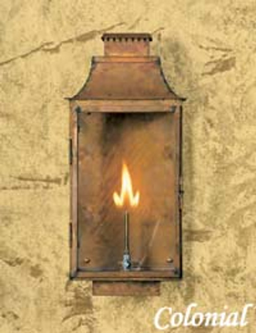 Copper custom gas light with brown patina finish- The Colonial