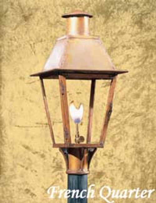 Copper gas light with gas mount collar- The French Quarter