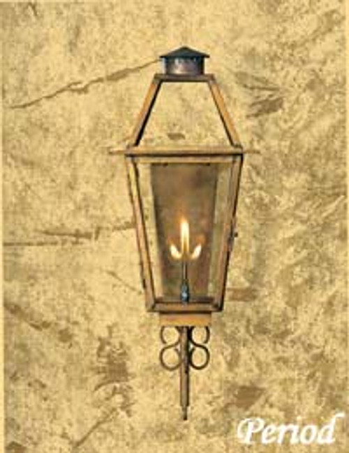 Copper gas light with decorative scroll- The Period