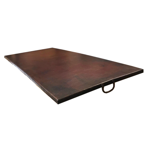 "61"" x 27"" rectangle fire pit copper cover with oil rubbed bronze finish"