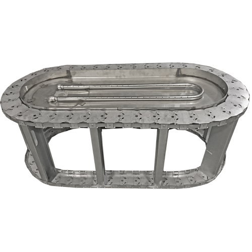 "44"" oval stainless steel fire pit frame with manual burner"
