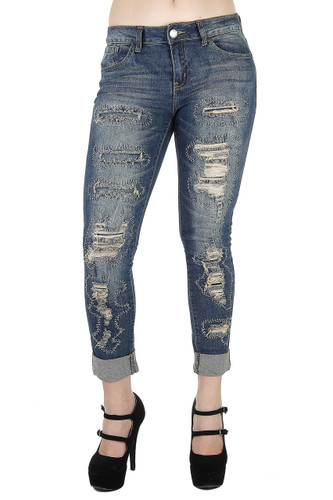 Style 6970AN - Destroyed Rip and Repair Premium Roll-Up Boyfriend Fit Capri - 6970AN