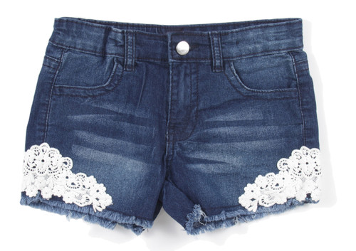7H073(SH) - Girls' Stretch 4 Pockets Denim Jeans Shorts with Lace