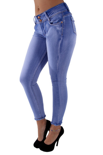7Y053(S) – Butt Lift, Levanta Cola, Unfinished Hem, Ankle Jeans