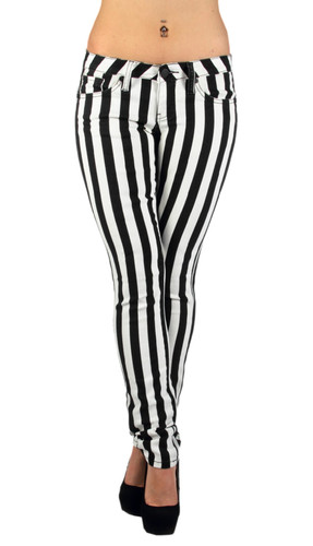 6065 Black & White Striped Classic Sexy Skinny Jeans Junior & Plus Size