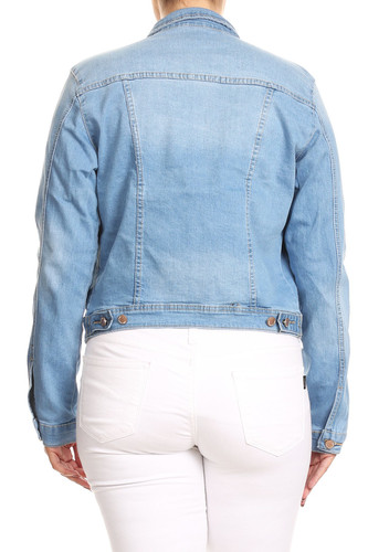 Women's Junior Plus Size, Premium Denim Jackets Long Sleeve Loose Jean Coats - JKT102PS