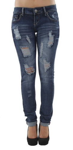 97011aS - Premium Designed, Butt Lift, Distressed Rip, Low Waist Skinny Jeans