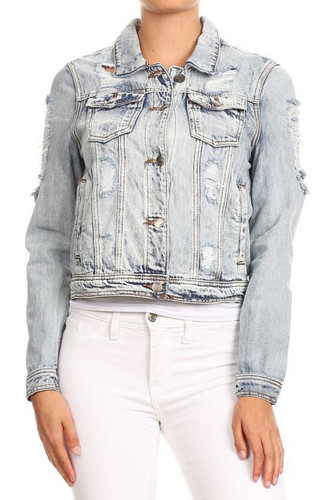 Women's Premium Denim Jackets Long Sleeve Ripped Jean Coats - 76136a(JK)