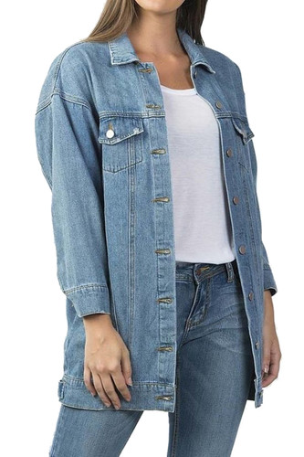 Women'sWashed Relaxed Loose Jean Denim Jacket Long Coat - JA7050