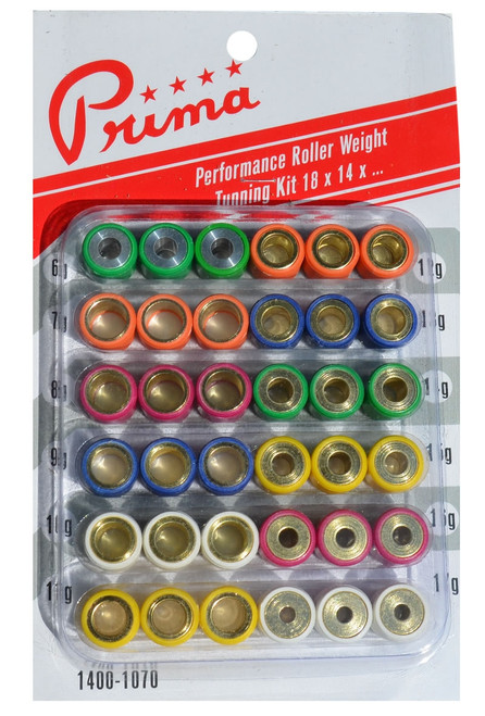 150cc Performance Prima Roller Weight Tuning Kit (18x14, 6g to 17g)