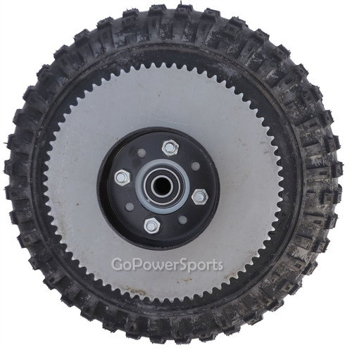 "145x70-6 Drive Wheel Assembly Complete with 5/8"" Bearings, Sprocket & Brake Drum"