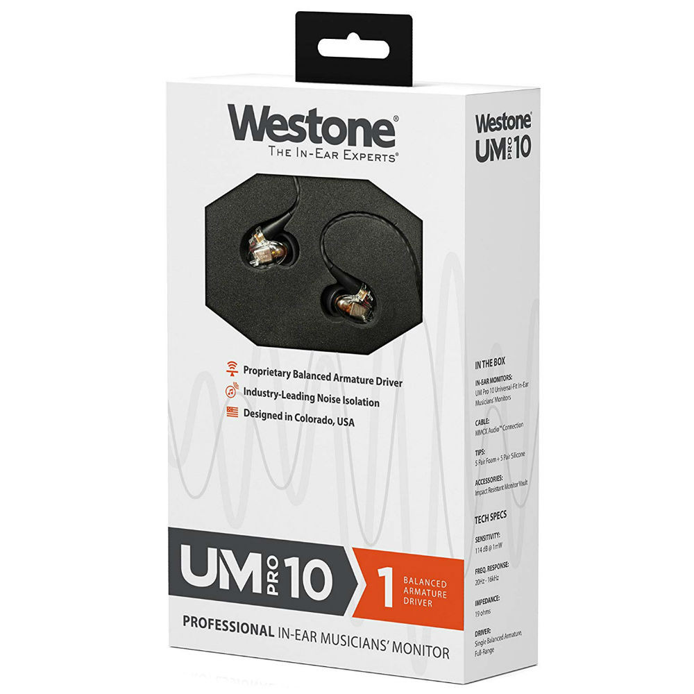 Westone UM PRO 10 Single Driver In-Ear Monitors With Removable MMCX Audio Cable (Clear)