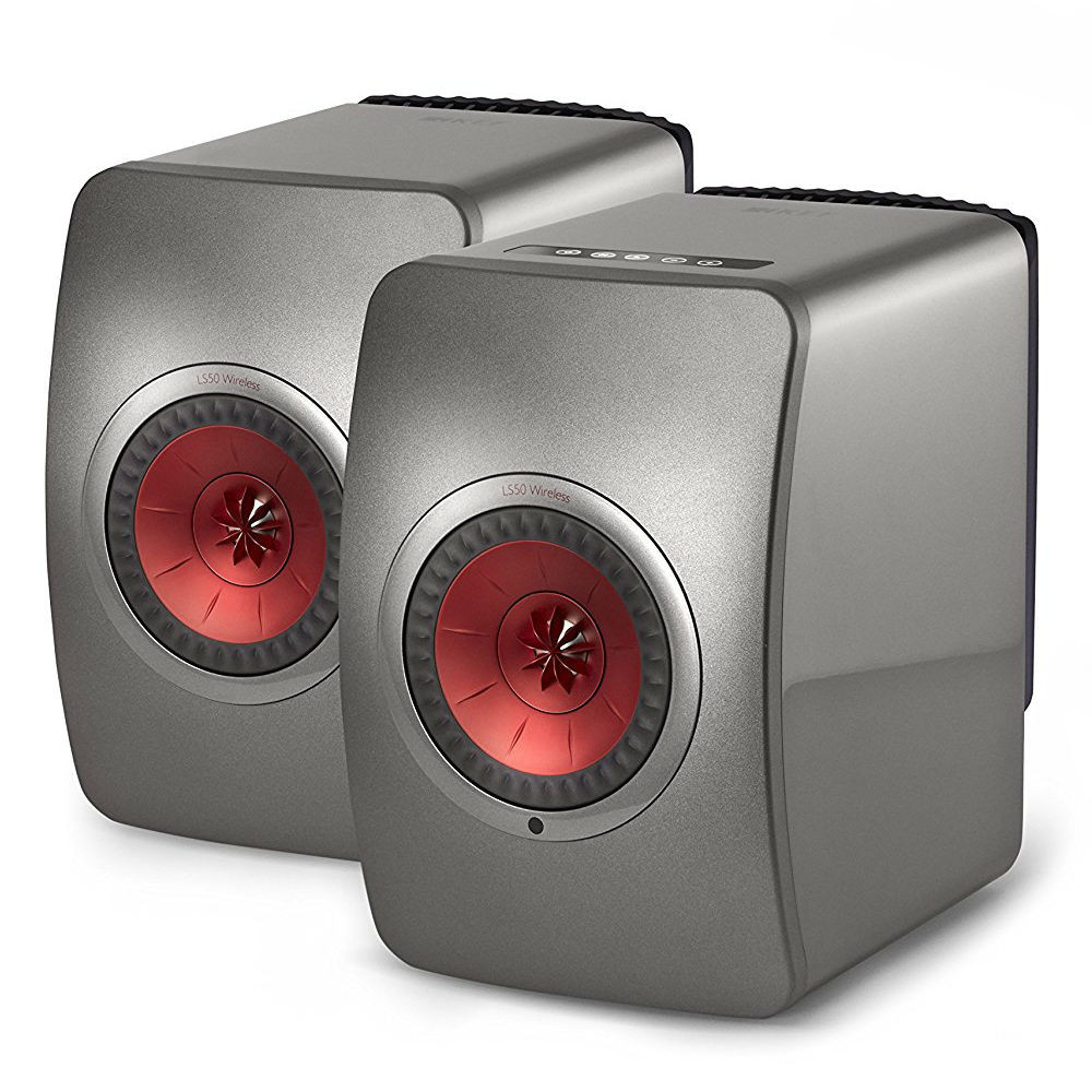 KEF LS50W High-Res Wireless Speaker (Titanium Grey/Red)