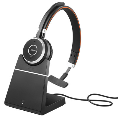 Jabra Evolve 65+ MS Mono Wireless Headset With Charging Stand & USB Adapter