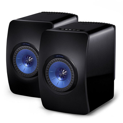 KEF LS50W High-Res Wireless Speaker (Gloss Black/Blue)