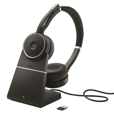 Jabra Evolve 75+ MS Wireless Headset With Charging Stand & USB Adapter (Black)