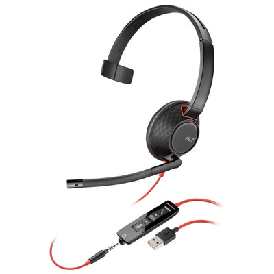 Plantronics Blackwire 5210 USB-A Corded Mono Headset (Black)