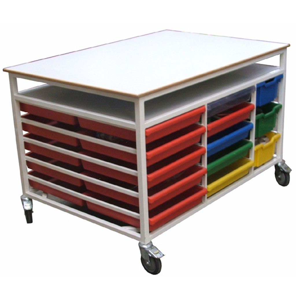 Work bench trolley with 26 trays (AST3)