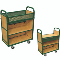 Flip down top shelf trolley