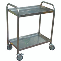Stainless steel 2 flat shelf Trolley