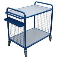 2 flat shelf trolleys