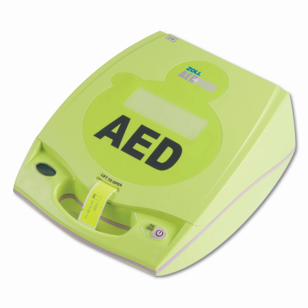 Includes an AED cover for medical professionals, pack of 10 CR123a batteries, and soft carry case. Also an LCD screen showing voice prompt messages, device advisory messages, elapsed time, shock count and chest compression graph. Operator's guide and (5) Five Year Limited Warranty on AED.