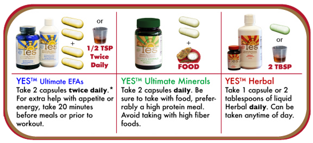 Yes 1 Month Supply - EFA, Mineral, Herbal Supplements