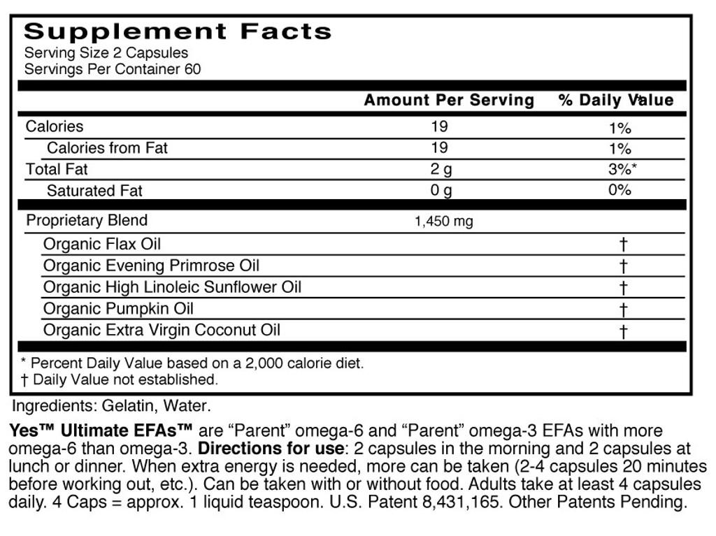 Yes EFAs - Parent Essential Oils, Capsules, Buy 3