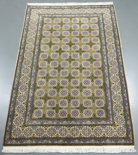 Pistachio Kashan Kork Wool Persian Rug (Ref 19) 300x196cm