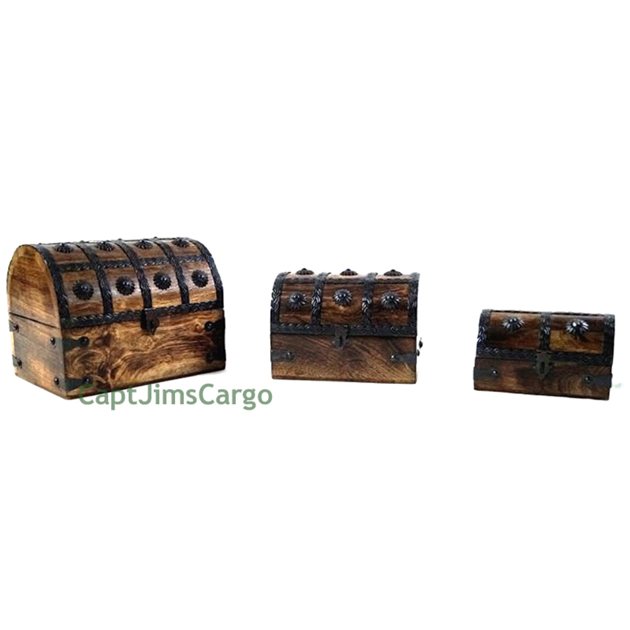 Pirate Treasure Chest Nested Wooden Keepsake Boxes