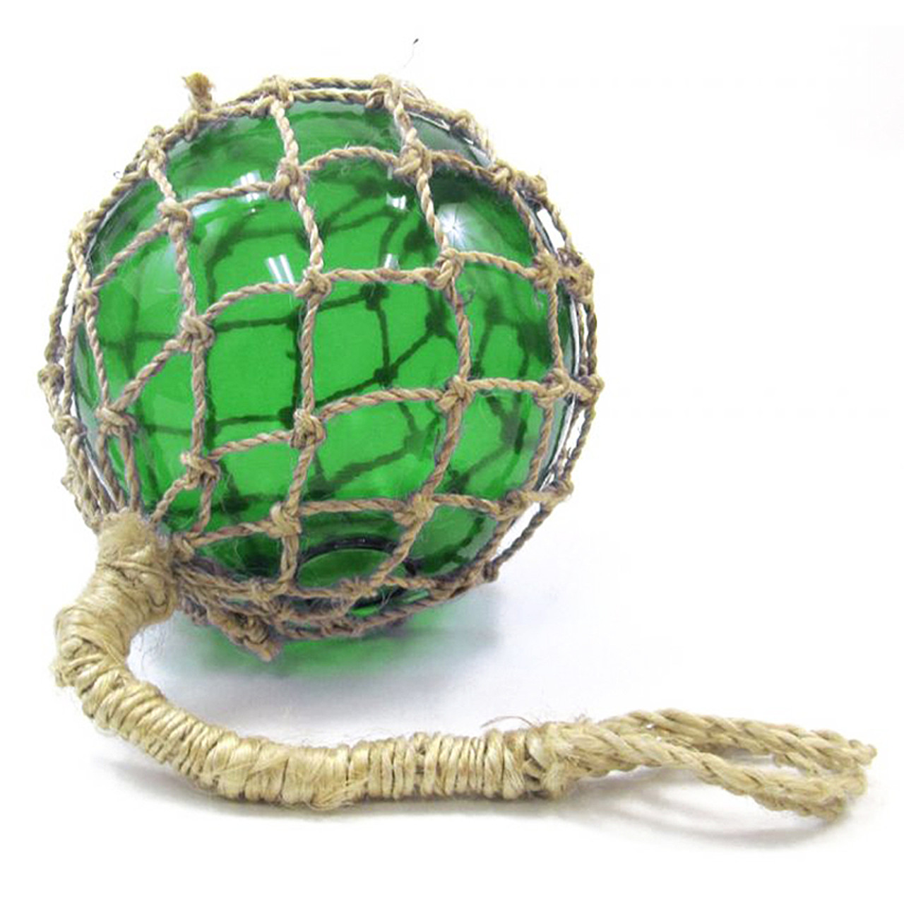 "Glass Fishing Float Green 8"" w/ Rope Decorative Reproduction Wall Decor"