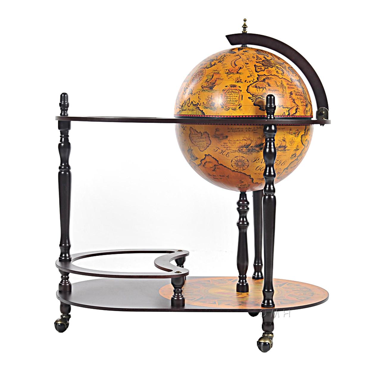 Unique Bar Trolley Wooden Old World Style Globe Hidden Home Pub