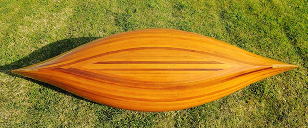 Display Cedar Wood Strip Canoe 6' Wooden Model Boat w/ Ribs
